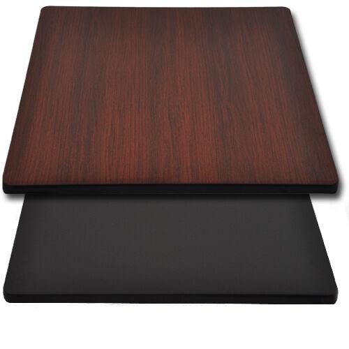"Advantage 36""x36"" Restaurant Table Top - Black / Mahogany Reversible"