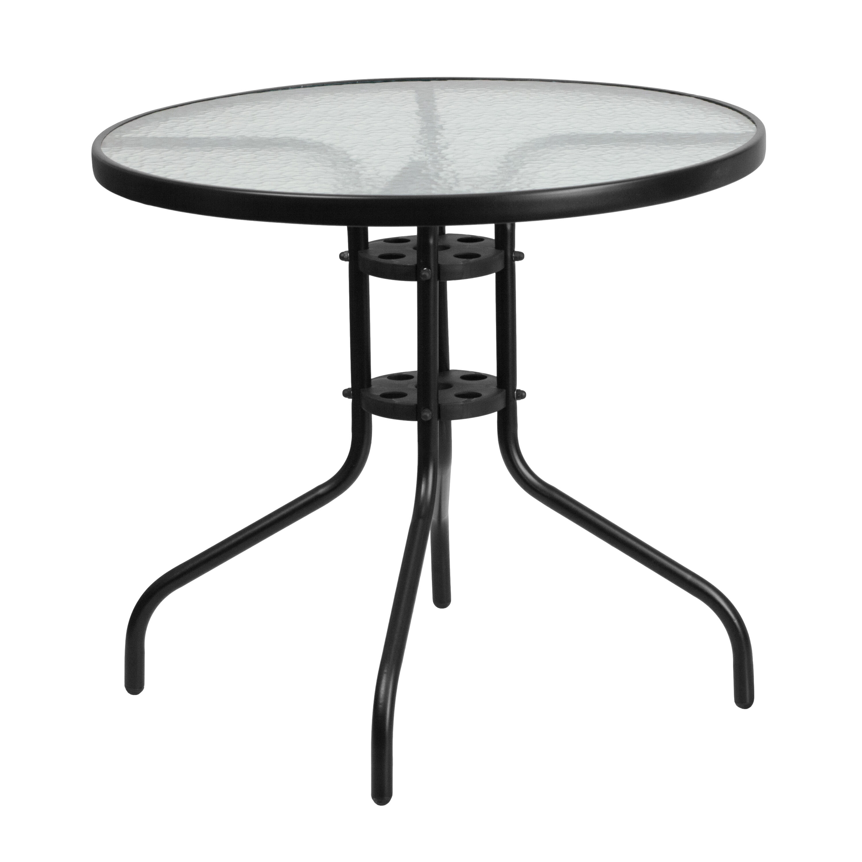 Round outdoor metal table Bistro Table Our 315 Round Tempered Glass Metal Table Is On Sale Now Restaurant Furniture Less 315rd Glass Black Patio Table Tlh0702gg