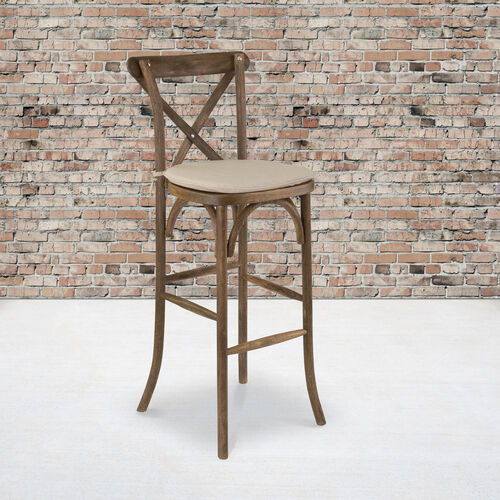 Our HERCULES Series Dark Antique Wood Cross Back Barstool with Cushion is on sale now.