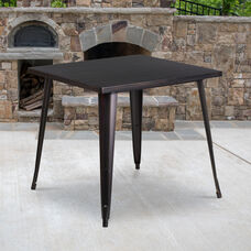 """Commercial Grade 31.75"""" Square Black-Antique Gold Metal Indoor-Outdoor Table"""