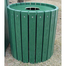 Heavy Duty Recycled Plastic 55 Gallon Round Receptacle