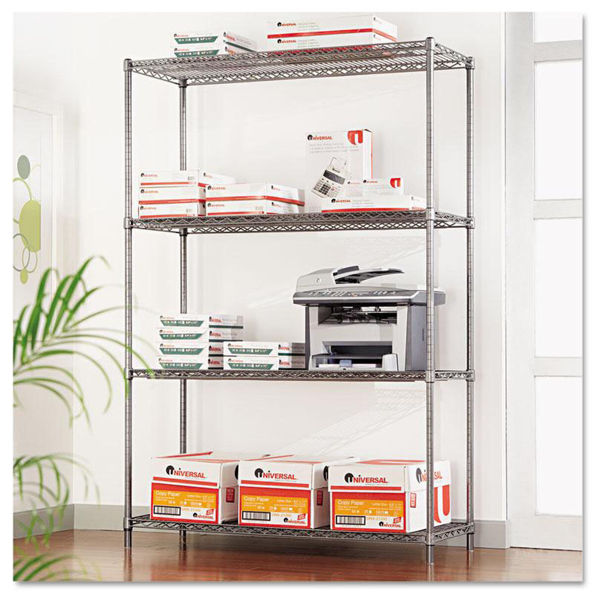 Mobile 4 Shelf Wire Shelving Black ALESW604818BA ...