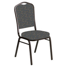 Embroidered Crown Back Banquet Chair in Circuit Teal Fabric - Gold Vein Frame