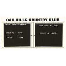 2 Door Outdoor Illuminated Enclosed Directory Board with Header and White Anodized Aluminum Frame - 36