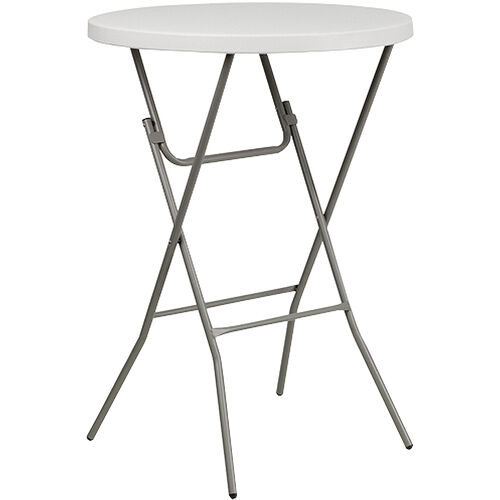Advantage 32 in. Round Bar Height White Plastic Folding Table