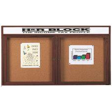 2 Door Enclosed Bulletin Board with Header and Walnut Finish - 36