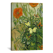 Butterflies and Poppies by Vincent van Gogh Gallery Wrapped Canvas Artwork