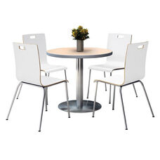 36'' Round Natural Laminate Table Set with White Finish Bentwood Cafe Chairs - Seats 4