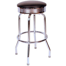 Retro Style Backless 30''H Swivel Bar Stool with Chrome Frame and Padded Seat - Black Vinyl