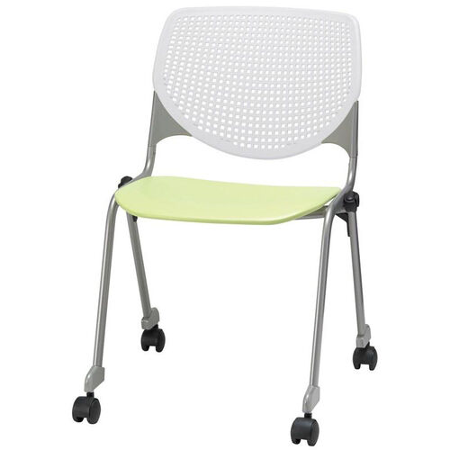 Our 2300 KOOL Series Stacking Poly Silver Steel Frame Armless Chair with White Perforated Back and Casters - Lime Green Seat is on sale now.