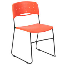 HERCULES Series 771 lb. Capacity Orange Sled Base Stack Chair with Air-Vent Seat