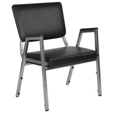 HERCULES Series 1500 lb. Rated Black Antimicrobial Vinyl Bariatric Arm Chair with 3/4 Panel Back and Silver Vein Frame
