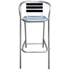 Pinzon Outdoor Tiki Series Aluminum Barstool with Arms - Black