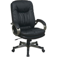 Work Smart Executive Bonded Leather Office Chair with Padded Arms and Titanium Coated Frame - Black