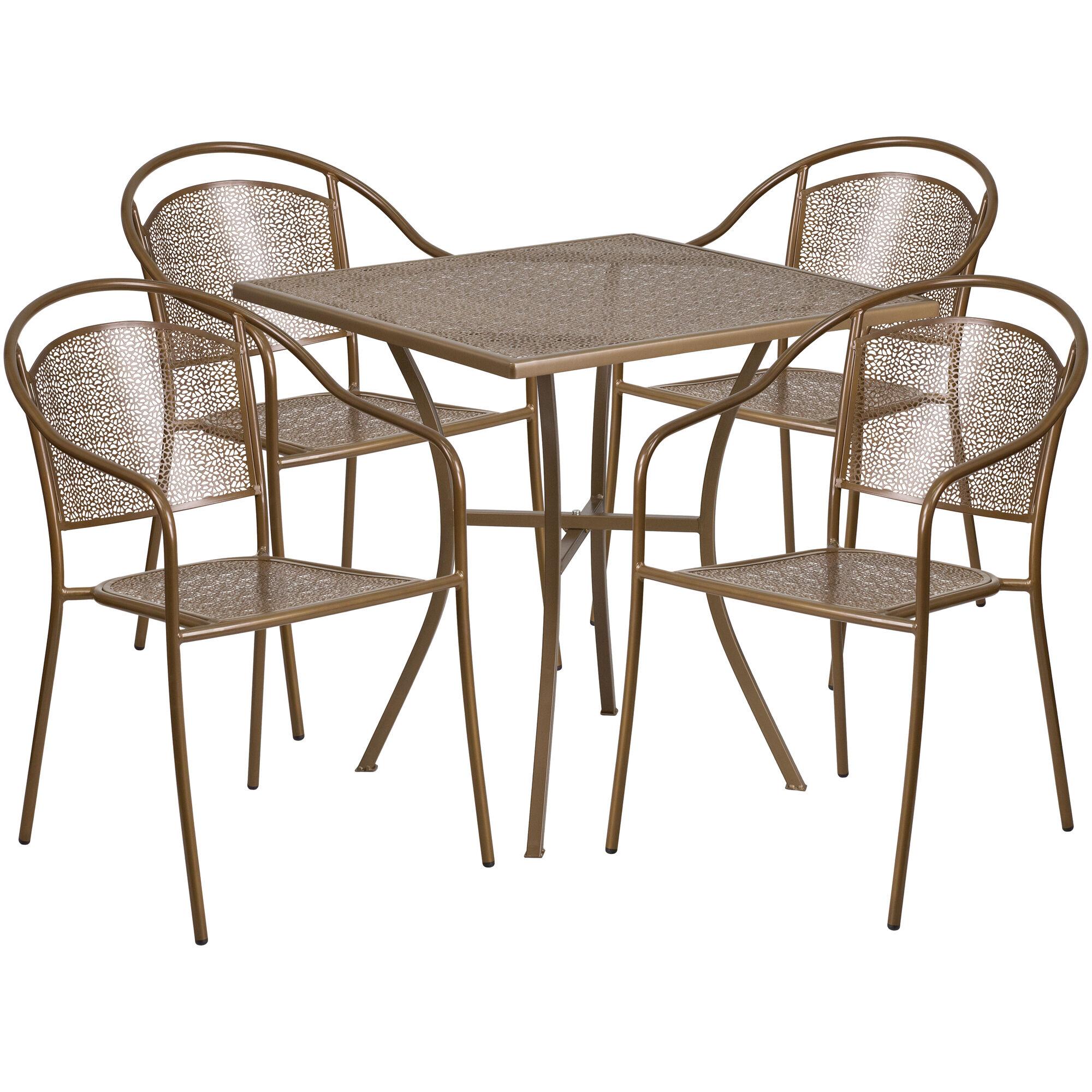 Flash Furniture 28'' Square Gold Indoor-Outdoor Steel ...