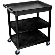 Heavy Duty Multi-Purpose Large Mobile Utility Cart with 1 Tub Top Shelf and 2 Flat Shelves - Black - 32