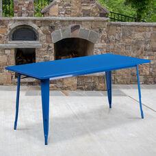 """Commercial Grade 31.5"""" x 63"""" Rectangular Blue Metal Indoor-Outdoor Table"""