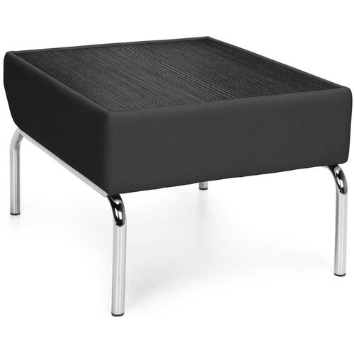 Triumph Laminate Top Table with Vinyl Border and Chrome Feet - Black Vinyl with Tungsten Top