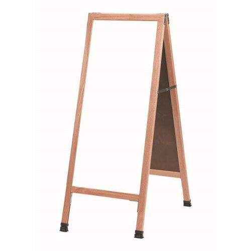 Our A-Frame Sidewalk White Melamine Marker Board with Solid Red Oak Frame - 42