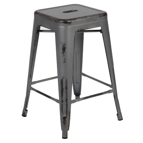 """Our Commercial Grade 24"""" High Backless Distressed Silver Gray Metal Indoor-Outdoor Counter Height Stool is on sale now."""