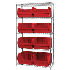 Wire Shelving Unit with 8 Magnum Bins - Red