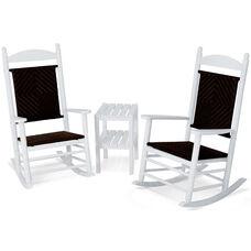 POLYWOOD® Jefferson 3-Piece Woven Rocker Set - White Frame / Cahaba