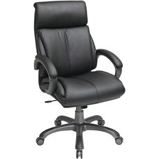 Work Smart Executive Eco Leather Chair with Locking Tilt Control and Titanium Coated Base - Black