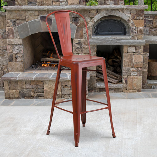 "Our Commercial Grade 30"" High Distressed Kelly Red Metal Indoor-Outdoor Barstool with Back is on sale now."