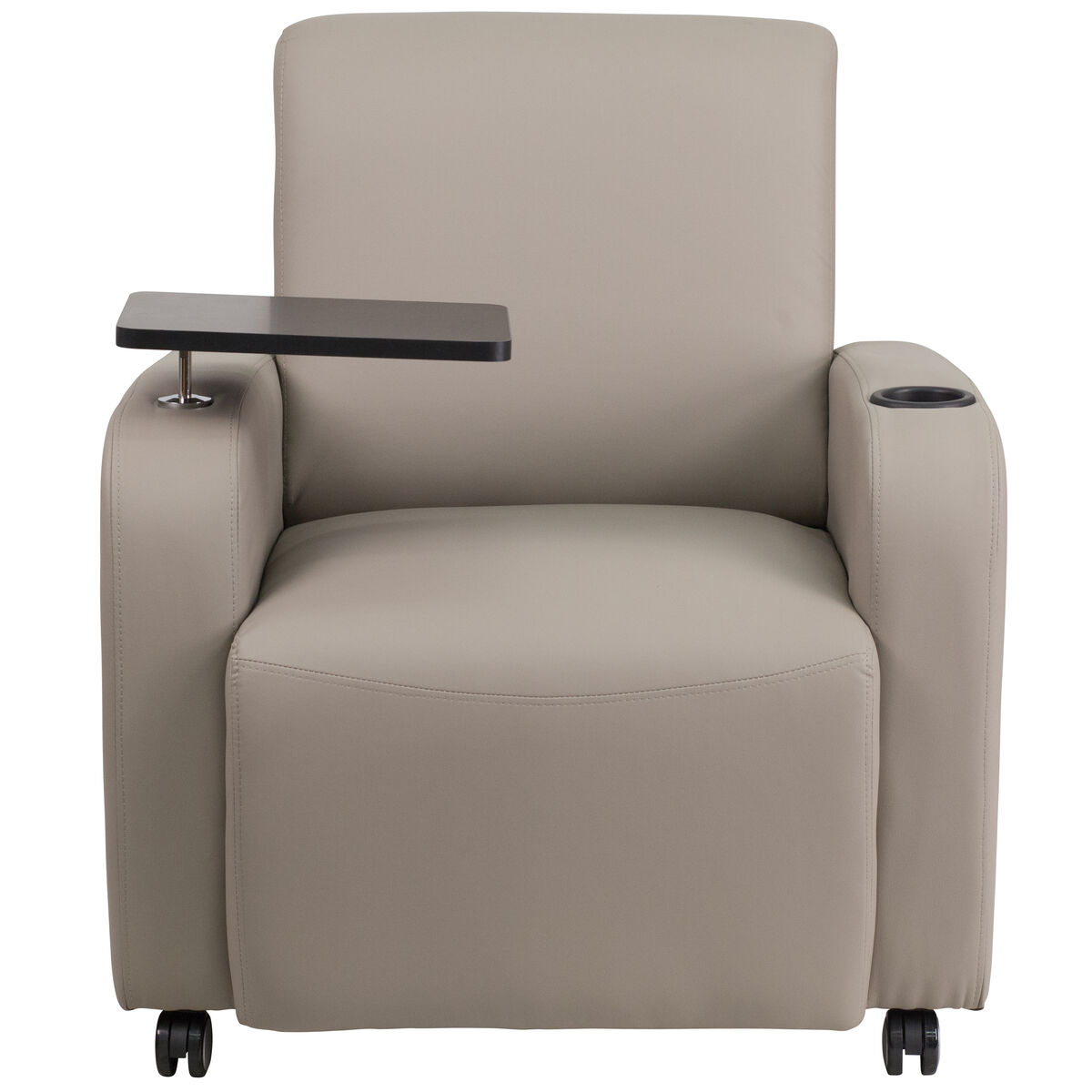 Miraculous Gray Leather Guest Chair With Tablet Arm Front Wheel Casters And Cup Holder Pdpeps Interior Chair Design Pdpepsorg