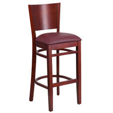 Mahogany Finished Solid Back Wooden Restaurant Barstool with Burgundy Vinyl Seat