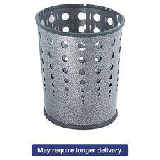 Safco® Bubble Wastebasket - Round - Steel - 6gal - Black Speckle