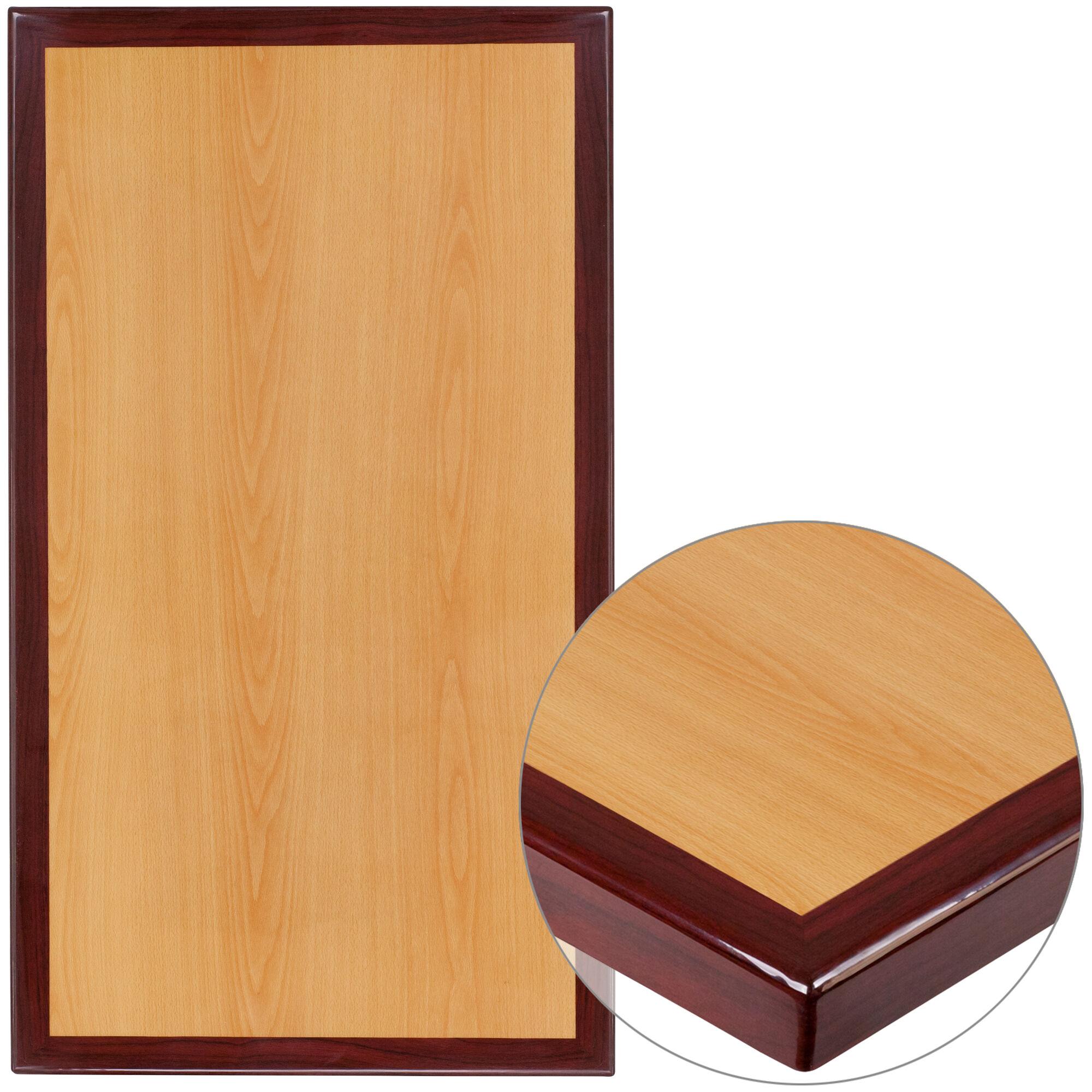 "8"" x 8"" Rectangular 8-Tone High-Gloss Cherry Resin Table Top with 8""  Thick Mahogany Edge"