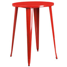 "Commercial Grade 30"" Round Red Metal Indoor-Outdoor Bar Height Table"