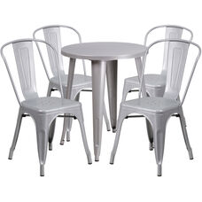 "Commercial Grade 24"" Round Silver Metal Indoor-Outdoor Table Set with 4 Cafe Chairs"