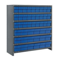 7 Shelf Closed Unit with 18 Large Drawers and 27 Small Drawers - Blue