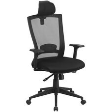 High Back Black Mesh Executive Swivel Chair with Back Angle Adjustment and Adjustable Arms