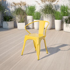 Commercial Grade Yellow Metal Indoor-Outdoor Chair with Arms