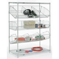 Chrome Wire Bin Pick Rack - 24
