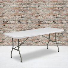 6-Foot Granite White Plastic Folding Table