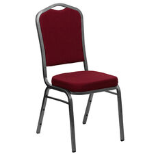 HERCULES Series Crown Back Stacking Banquet Chair in Burgundy Fabric - Silver Vein Frame