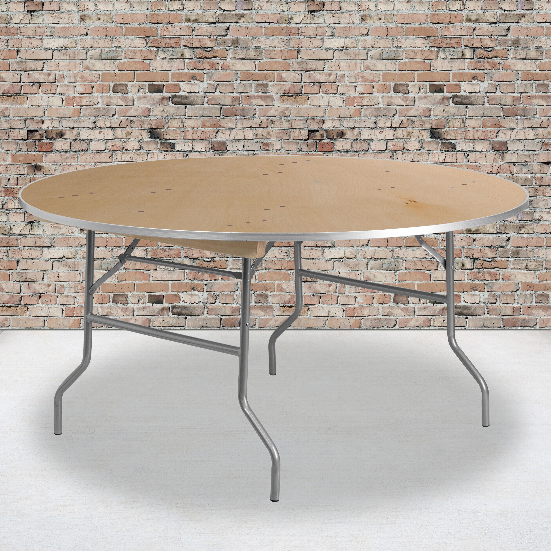 - 60RND Wood Fold Table-Met Edge XA-60-BIRCH-M-GG