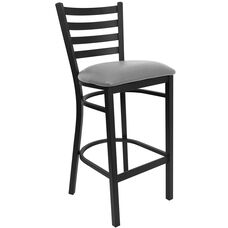 Black Ladder Back Metal Restaurant Barstool with Custom Upholstered Seat