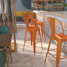 "Commercial Grade 30"" High Orange Metal Indoor-Outdoor Barstool with Back"