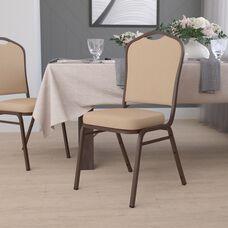 HERCULES Series Crown Back Stacking Banquet Chair in Tan Vinyl - Copper Vein Frame