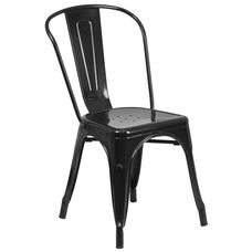 Black Metal Indoor-Outdoor Stackable Chair