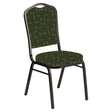 Embroidered Crown Back Banquet Chair in Eclipse Fern Fabric - Gold Vein Frame