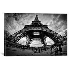 Eiffel Apocalypse B&W by Sebastien Lory Gallery Wrapped Canvas Artwork