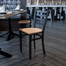 HERCULES Series Black Ladder Back Metal Restaurant Chair - Natural Wood Seat