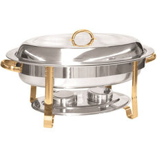 6 Quart Gold Accented Oval Chafer