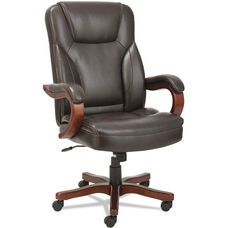 Alera® Transitional Series Executive Chair with Walnut Wood Frame - Chocolate Marble Leather